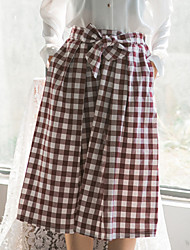 Swing Geometric Check Skirts,Going out Casual/Daily Vintage Street chic Mid Rise Midi Elasticity Cotton Micro-elastic Spring Summer