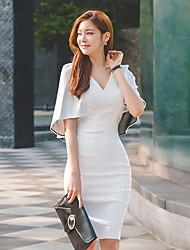 versão coreana do verão novas senhoras sexy profundo decote em V costura termina fino pacote de hip maré vestido de manga morcego divisão