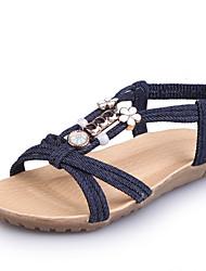 Women's Sandals Summer Slingback Gladiator Light Soles Denim Outdoor Casual Flat Heel Beading Pearl Walking