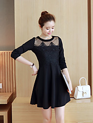 New Women Korean Slim thin long-sleeved long section sweet lady net yarn lace dress