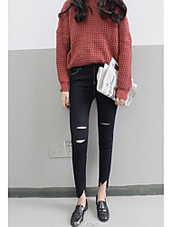 Korean House Sign 2016 autumn new personality was thin black denim pencil pants open wire yellow