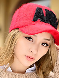 Women 's Winter Letter Printing Rabbit Hair Pattern Warm College Wind Warm Baseball Cap