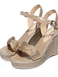 Damen-Sandalen-Lässig-PU-Keilabsatz-Mary Jane-Gold