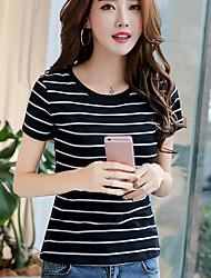Han mold réel shot 2017 été nouvelle mode coréenne slim round neck striped short manches t-shirt femme