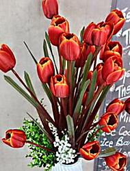 1 Ramo Fibra Tulipas Flor de Mesa Flores artificiais