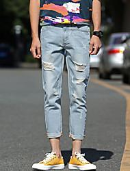 estate 2017 uomini&# 39; s jeans di colore chiaro buca 9 pantaloni collant pantaloni selvatici uomini&# 39; s pantaloni casual