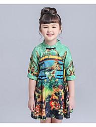 Girl's Solid Animal Print Dress,Cotton Spring Long Sleeve