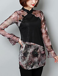 Women's Casual/Daily Simple All Seasons Blouse,Solid Print Round Neck Long Sleeve Polyester Medium
