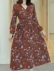 Для женщин На выход С летящей юбкой Платье Цветочный принт,V-образный вырез Средней длины Длинный рукав Хлопок Весна Лето С высокой талией