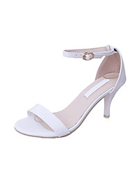 Women's Heels Summer Club Shoes Light Soles Leatherette Outdoor Dress Casual Stiletto Heel Buckle Walking