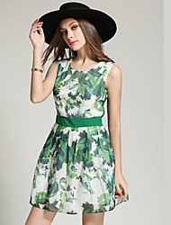 Real shot in Europe and America summer new floral pleated skirt waist dress sub bottoming