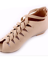 Women's Shoes PU Spring Summer Fall Comfort Light Soles Sandals Flat Heel Wedge Heel Peep Toe Zipper For Casual Office & Career Dress