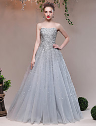 Ball Gown Sweetheart Floor Length Tulle Sequined Evening Dress with Crystal