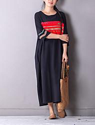 Ample Robe Femme Décontracté / Quotidien simple,Géométrique Col Arrondi Maxi ½ Manches Coton Toutes les Saisons Taille Normale