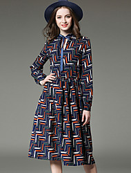 SUOQI Spring Fall Women For Dresses Fashion Round Neck Long Sleeve Slim Was Thin Print Dress