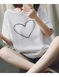 Summer new wild personality printing short-sleeved t-shirt love Korean female loose