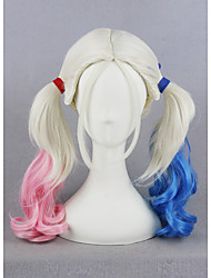 Short Harleen Quinzel Harley Quinn Color Mixed Synthetic 18inch Anime Cosplay Wigs CS-269A