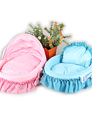 Cat Dog Bed Pets Bed Lace Solid Blue Pink