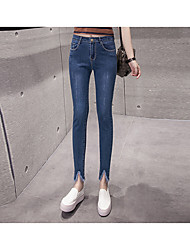 Women's Slim Jeans Pants,Casual/Daily Cute Solid High Rise Zipper Cotton Micro-elastic All Seasons