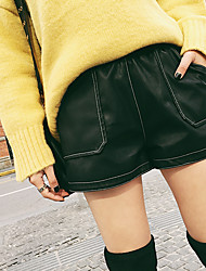 2016 autumn and winter new Korean wave of one hundred ride suture PU leather pants female wide leg was thin outer wear Lederhosen