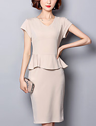 Women's Work Party Street chic Fashion Bodycon Shift Dress Solid Peplum Split V Neck Maxi Short Sleeve Polyester Beige Summer