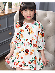 Girl's Casual/Daily Solid Dress,Cotton Summer 3/4 Sleeve
