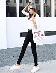 Sign spring models pantyhose elastic waist jeans Korean version of Slim was thin pencil pants black pants