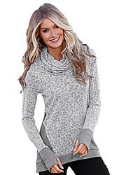 s3075 modelli esplosione amazon aliexpress leopardo collo alto stampa a maniche lunghe t-shirt grigia in Europa e in America&# 39; s