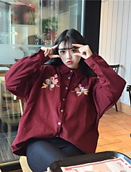 Sign in early spring 2017 new retro flower embroidery corduroy long-sleeved shirt thin coat