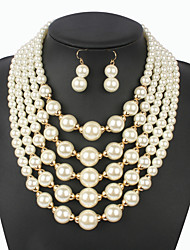Jewelry 1 Necklace 1 Pair of Earrings Pearl Strands Fashion Wedding Party Special Occasion Pearl 1set Beige Wedding Gifts