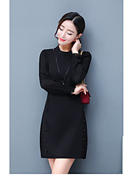 2017 spring new women Slim temperament long section bottoming skirt high-necked dress half