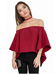 Women's Going out Simple Blouse,Solid Off Shoulder ½ Length Sleeve Silk