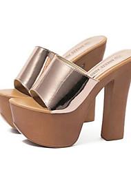 Damen-Sandalen-Lässig-PU-Blockabsatz-Komfort-Schwarz Champagner
