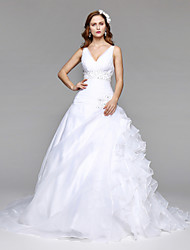 LAN TING BRIDE Ball Gown Wedding Dress Simply Sublime Floor-length V-neck Organza Tulle with Beading Ruche