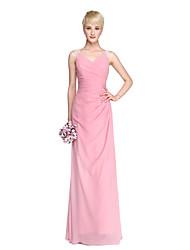 Lanting Bride® Floor-length Chiffon Elegant See Through Bridesmaid Dress - Sheath / Column V-neck with Beading Buttons Pleats