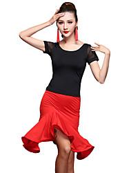Мы будем латинскими танцевальными нарядами для женщин, занимающихся спандексом, 2 части танцевального костюма