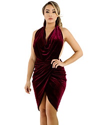 Women's Draped Suede Open Back Bodycon Dress