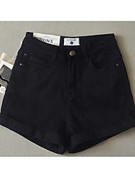 Femme simple Taille Haute Micro-élastique Short Pantalon,Droite Couleur Pleine