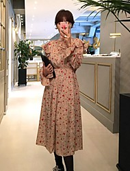 17 / Famous chic aristocratic temperament in early spring half-high round neck long-sleeved floral dress flouncing speaker