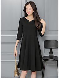 2017 Primavera novas mulheres&# 39; s vestido de colocar em um grande vestido pouco Hepburn preto reunião anual colarinho vestido