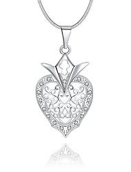 Женский Ожерелья с подвесками Кристалл Стерлинговое серебро Хрусталь Имитация Алмазный В форме сердцаУникальный дизайн С логотипом В виде