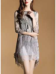 2017 spring new nine points sleeve elegant lace fringed skirt irregular print dress