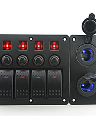IZTOSS red led DC12/24V 4 Gang on-off rocker switch curved panel and circuit breaker with label stickers and 2 blue led cigarettel power socket for bo