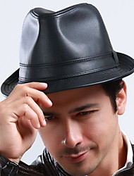 Men's Middle-aged PU Black Leather Jazz Casual Cowboy Solid Color Bowler Hat