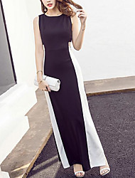 Europe summer new hit color sexy elegant black and white dew waist side slit skirt was thin retro dress