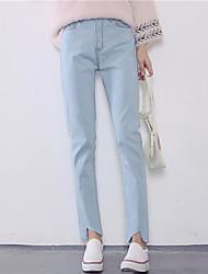Знак тонкий дикий девять точек карандаш брюки талия эластичный светлый джинсы ноги женская нетто