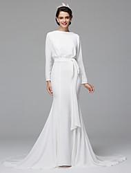 LAN TING BRIDE Trumpet / Mermaid Wedding Dress Open Back Sweep / Brush Train Bateau Chiffon with Draped Sash / Ribbon