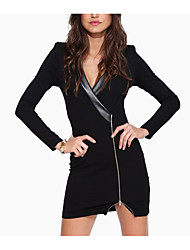 Autumn in Europe and America tight package hip long-sleeved zip-front sexy PU leather stitching suit collar dress coat