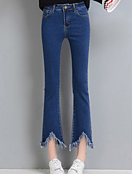 Women's Wide Leg Jeans Pants,Casual/Daily Street chic Solid High Rise Button Cotton Inelastic Spring