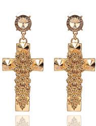 Brincos Compridos Cristal Cruz Cristal Liga Forma Geométrica Dourado Jóias Para Festa Diário Casual 1 par